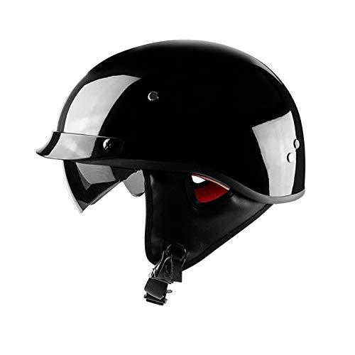 VOSS Motorrad Retro Helme Vintage Persönlichkeit Jet Helme Für Harley Bobber Chopper Motorrad Jethelm Cruiser Unisex Leder Crash Helme,Black-L(57-58cm)