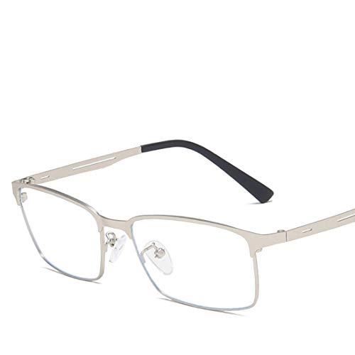 Jakiload Quadratische Art und Weise Anti-Blaue Metallgläser Nicht verschreibungspflichtige Brillenmännerfrauen (Color : Silver)
