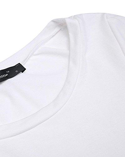 StyleDome Donna Maglietta Manica Lunga Pizzo Girocollo Moda Autunno Maglia Sottile Nuovo Casual Bluse Eleganti Top Bianco