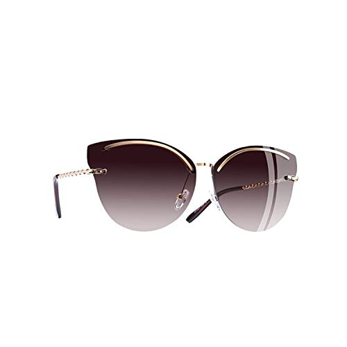 Sport-Sonnenbrillen, Vintage Sonnenbrillen, Cat Eye Sunglasses Women Fashion Mirror Reflective Sun Glasses Rimless Frame Alloy Legs Glasses UV400 C2Brown