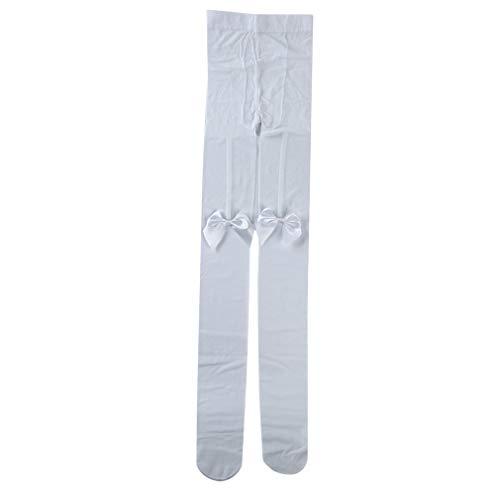 Faliya Eleganter Bogenstrumpf Schenkelhoher Strumpf Loli Strumpfhosen Socken Strumpfhosen Stretch Socken, Weiß -