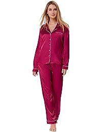 Zexxxy Schlafanzug Damen Pyjama Satin Lange Button-Down Nachtwäsche mit Hosen Hausanzug Sleepwear