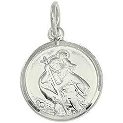 Pendentif Médaille de Saint-Christophe en Or Blanc 9 Carats