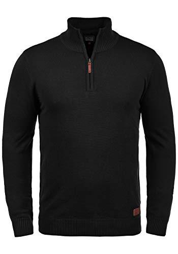 Blend Robin Herren Strickpullover Troyer Feinstrick Pullover Mit Stehkragen Und Reißverschluss, Größe:3XL, Farbe:Black (70155)