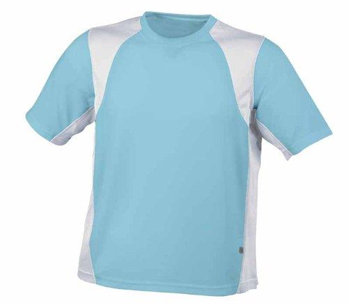 JN306 James+Nicholson Herren Sport Funktions Lauf T-Shirt ocean/white
