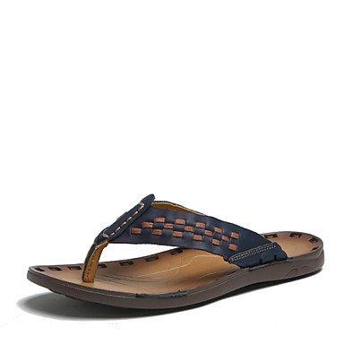 Sandales d'été chaussures d'hommes dehors / Sandales en cuir Nappa occasionnels Bleu / Orange / marron Blue