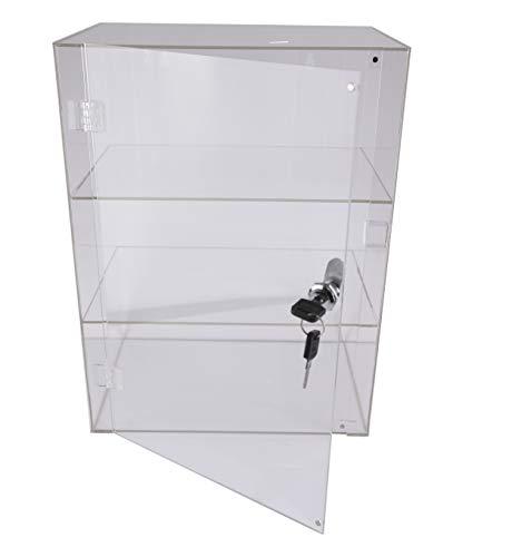 PC3721 1 Acryl-Vitrine aus transparentem Hochglanz-2-Fach mit Frontklappe und Sicherheitsschloss...