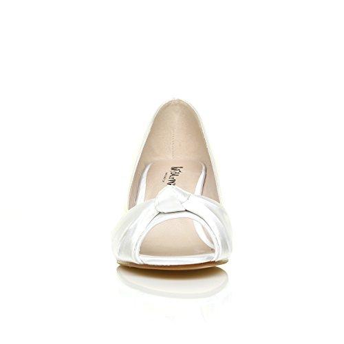 ShuWish UK - Chaussures Talon Satin Blanc Talon Moyen Bout Ouvert Satin blanc