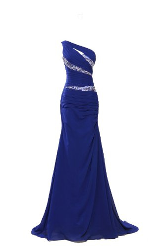 MISSYDRESS Damen One-Shoulder Kleid Gr. 40, blau (Fiesta Ruffle)