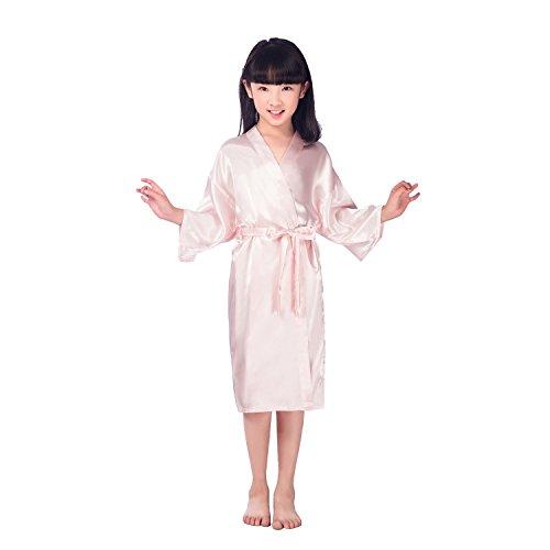 CuteOn Kinder Kids Satin Seide Kimono Robe Bademantel Morgenmantel Nachtwäsche für Spa Hochzeit Geburtstagsparty Kleid Rosa Größe 10 - (Höhe 115-130cm) -