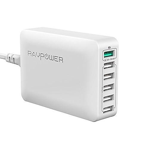 RAVPower Quick Charge 3.0 60W Chargeur Secteur USB 6-Port Station de Recharge Chargeur de Bureau (1 Port Quick Charge 3.0 et 5 Ports iSmart 2.0 5V/2.4A ) avec Cordon Secteur 1.5m - Blanc