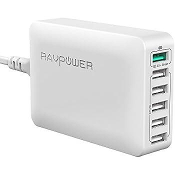 RAVPower 6-Port QC 3.0 USB Desktop Ladegerät Ladestation Qualcomm Quick Charge 3.0 Schnellladen weiß