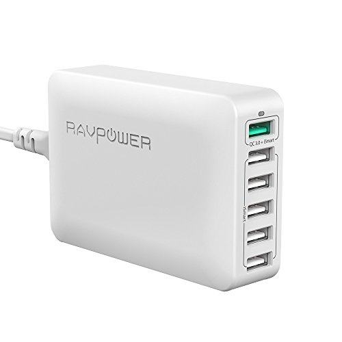 RAVPower Quick Charge 3.0 USB Ladegerät 6-Port 60W Ladeadapter, Mehrfach USB Ladestation für iPhone X XS XR XS Max 8 7 6 Plus, iPad Pro Air Mini, Galaxy S9 S8 Plus, LG, Huawei, Powerbank, MP3 Weiß - 3 Ipad Für Mini Netzkabel
