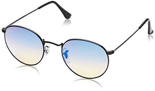 Ray Ban Unisex Sonnenbrille Round Metal, (Gestell: schwarz, Gläser: verspiegelt blauverlauf 002/4O), Medium (Herstellergröße: 50)