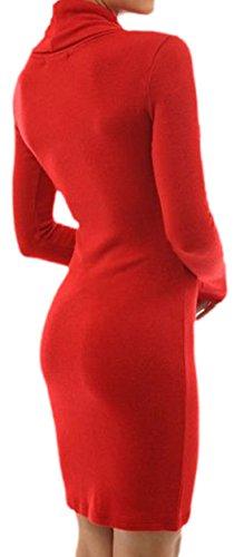 erdbeerloft - Damen Kurzes Casual Kleid mit Wasserfallkragen, XS-XL, Viele Farben Rot