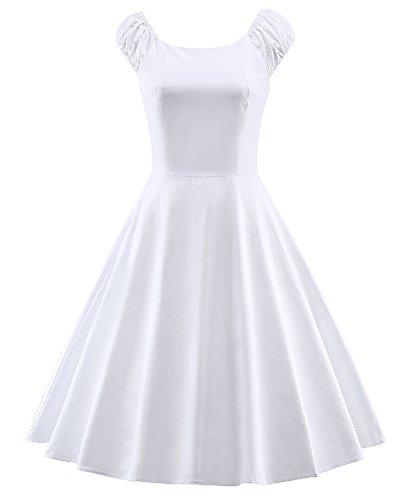 LaoZan Femmes manche courte Rétro Rockabilly Swing Robe de cocktail Longue Robe De Soiree années 50 élégantes Blanc