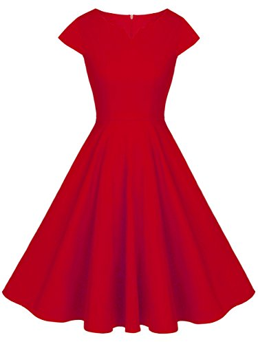 FAIRY COUPLE 1950S Vintage lunares Cap mangas vestido de fiesta DRT019 para 3XL Rojo