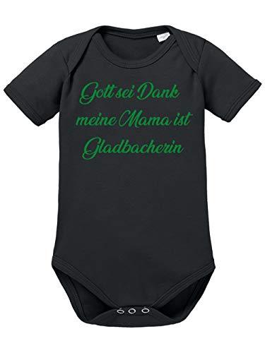 clothinx Gott Sei Dank, Meine Mama ist Gladbacherin, Lustiges Fußballmotiv Baby Body Bio Schwarz Gr. 62