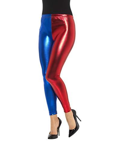 Smiffys Damen Metallic Narr Cosplay Leggings, Größe: 36-38, Blau und Rot, 48108 -