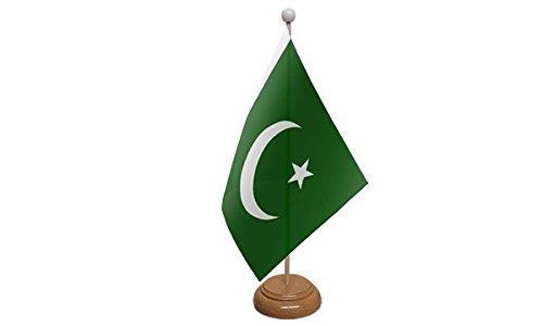 UKFlagShop 22,9x 15,2cm Pakistan pakistanischen Großer Desktop-Tabelle Flagge mit Sockel aus Holz & Pole ideal für Party Konferenzen Büro Display