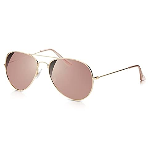 Sunglass Junkie Mens & Womens Rose Gold Mirror Aviator Sunglasses. Retro Top Gun Fashion 100% UV Protection UV-400 Lenses. Anti-Glare Filter Cat 3. Double Bridge Metal Frame & Pink Crystal Tips