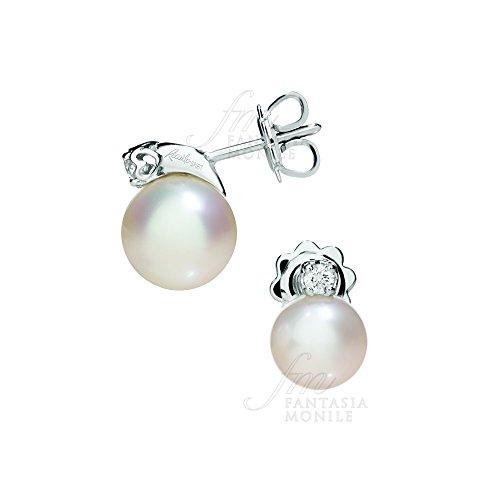 Orecchini Recarlo Perle Coltivate Akoya Diamanti Naturali Oro Bianco 18kt Modello Anniversary Donna Wedding XD113/0700