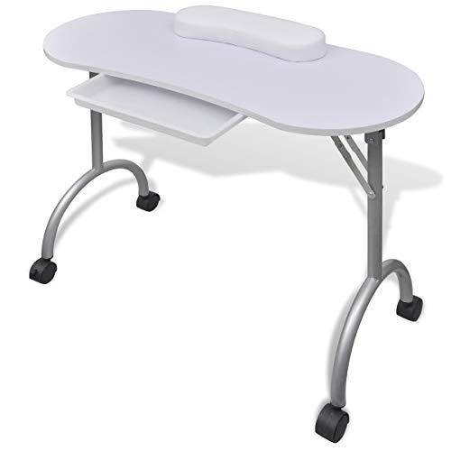 vidaXL Table manucure pliante avec roulettes Noir Table pliant avec un tiroir