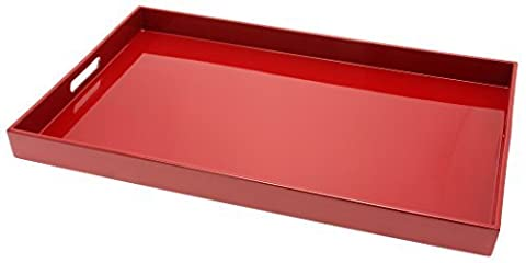 Kotobuki Rectangular Lacquer Serving Tray, 18-3/4-Inch, Red by Kotobuki