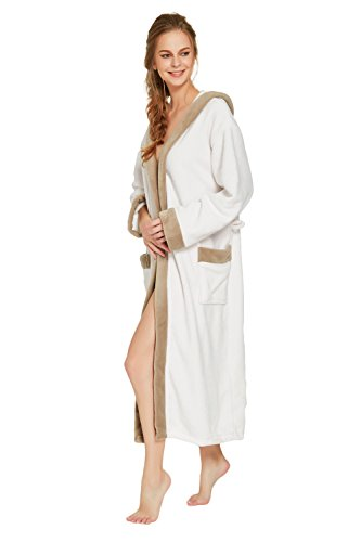 COSMOZ® Premium Damen Coral Fleece Morgenmantel Bademantel mit Kapuze Weiß/Braun