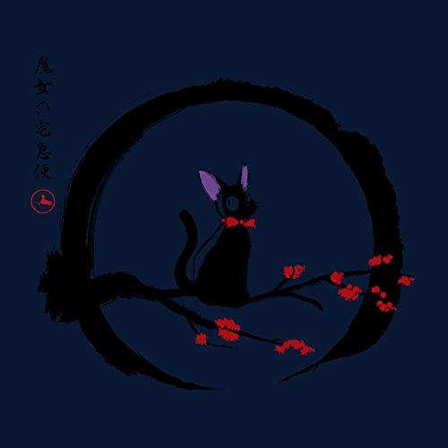 Jiji Under The Moon Studio Ghibli Women's T-Shirt Navy blue