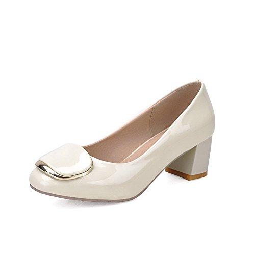 AgooLar Damen Ziehen Auf Quadratisch Zehe Mittler Absatz Pumps Schuhe Cremefarben