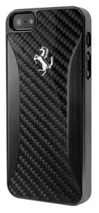 CG MOBILE Ferrari Black Carbon & Brushed Aluminio Hard Case iPhone se