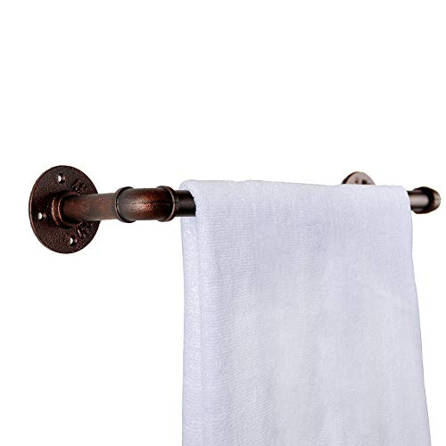 GoYonder Barre de serviette de tuyau industrielle en bronze, support de serviette de salle de bains fixé au mur pour la barre de stockage, le support de manteau et les meubles de cuisine