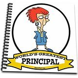 3dRose db_103470_1 Funny Worlds Greatest Principal Female Occupation Job Cartoon Drawing Book, 8 by