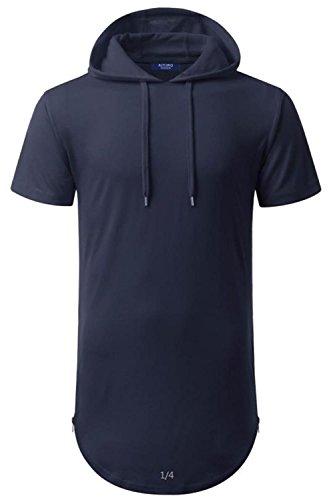 AIYINO Herren Hip Hop Longline Pullover kaufen kurzarm shirt (XL, Navy) (Kurzarm-pullover Navy)