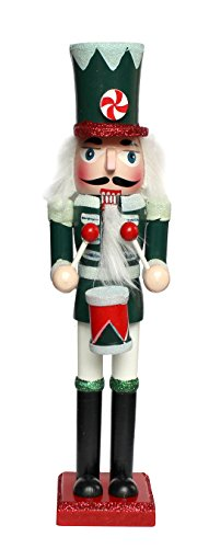 Traditional Wooden CHRISTMAS NUTCRACKER DRUMMER SOLDIER Decoration - GREEN, RED & WHITE - Christmas Glitter Detail - 24cm