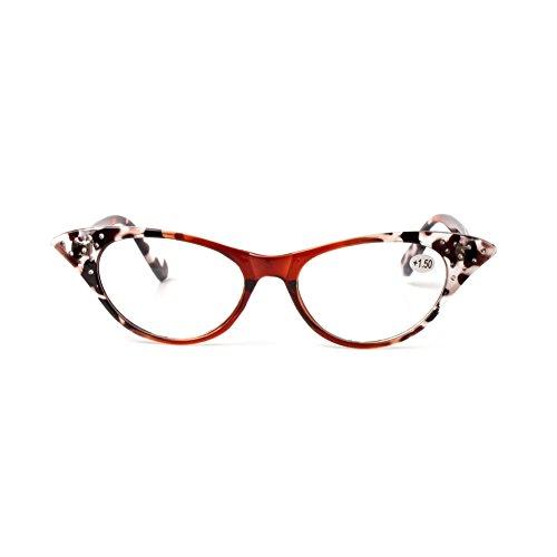 Deylaying Womens Fashion Brille Rhinestone Katze Auge Vergrößern Lesebrille
