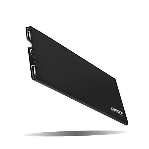 KREKCO Power Bank 12000mAh Externer Akku Portable 2 USB Ports LED-Statusanzeige Lighting Ultradünnem Motionless Ladegerät Charger Exemplar-C Kompatibel mit Alle Arten Telefone & Gravestone