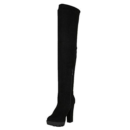 Stiefelparadies Damen Overknees Stiefel Veloursleder-Optik Schuhe Langschaftstiefel High Heels Boots Karneval Fasching Kostüm Polizistin Flandell Schwarz Velours