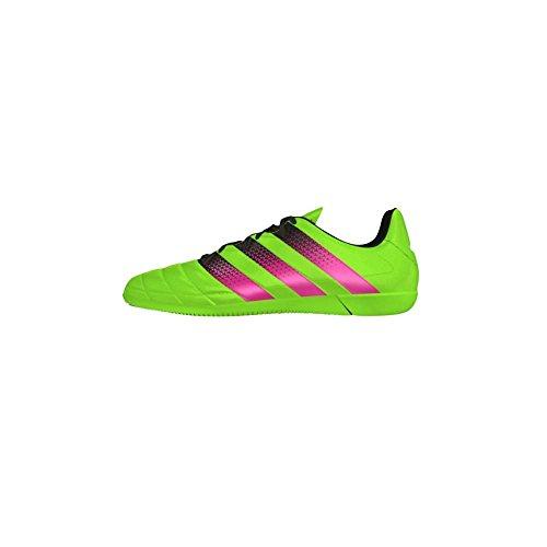 adidas Ace 16.3 In Leather, Scarpe da Calcio Uomo Verde / rosa / nero (Versol / Rosimp / Negbas)