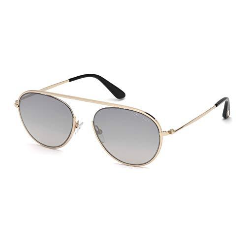 Tom Ford Unisex-Erwachsene FT0599 28C 55 Sonnenbrille, Gold (Oro Rosa Lucido/Fumo Specchiato),