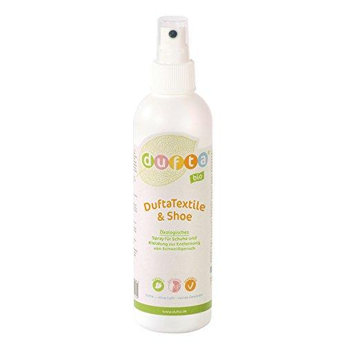 DuftaTextile & Shoe Spray Schweißgeruch Entferner auf Enzymbasis bio vegan gegen Schweißgeruch in Textilien Leder Schuhe u.a. 250ml Pumpflasche nachfüllbar recyclingfähig 4424200810195
