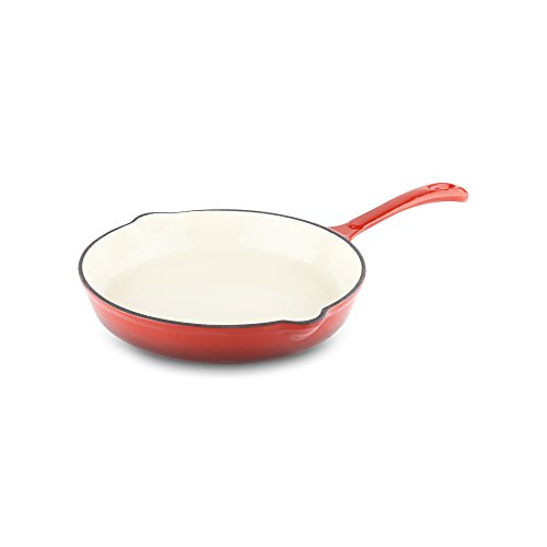Provencale Proffesional Cast Iron Frying Pan, Cream Lined, 3 Layer Enamel Finish, Flame Red, 21cm diameter