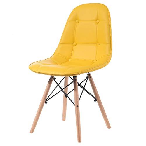 JYKOO Moderner Dining Chair, Eames Pu-ledersitz, Armlehne-freie Freizeit-rückenlehnen-Stuhl, Beine...