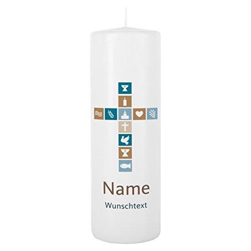 Striefchen® Kerze zur Taufe/Kommunion / Konfirmation mit Namen und Wunschtext für Jungen Weiß