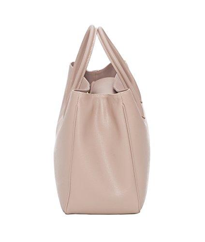 Winter & Co. Designer Damen-tasche Businesstasche Handtasche aus edlem Leder made in Italy für 14 Zoll große Laptops und A4 Ringordner mit verstellbarem Schultergurt (schwarz) Puder