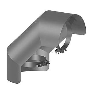 Ø 150 mm Ofenrohr Strahlungsschutz Bogen 90° stehend Gussgrau