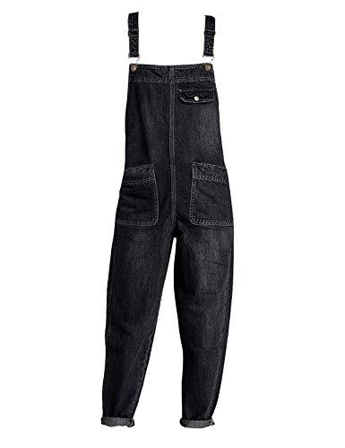 Minghe Damen Latz Jeans Loose Denim Latzhose Overalls Jeans Knöchellang Schwarz 42