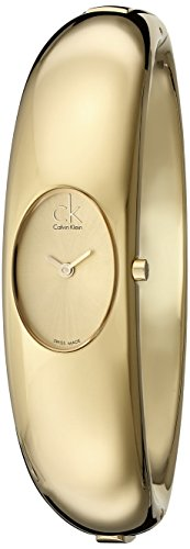 Calvin Klein Women's Quartz Watch with Gold Dial Analogue Display and Gold Stainless Steel Bracelet K1Y22209