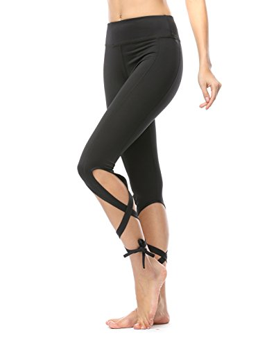 JIMMY DESIGN Leggings für Damen Yoga Hose Schwarz - L -